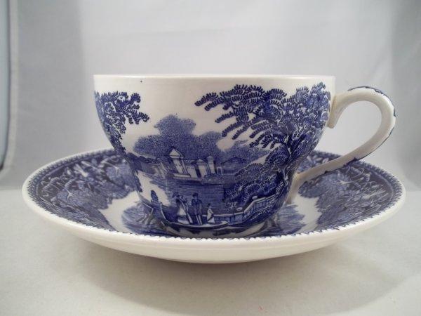 """Milchkaffeetasse mit Untere """"Vista"""" Blau"""