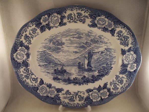 """Platte, oval, gross """"Lochs of Scotland"""" Blau"""
