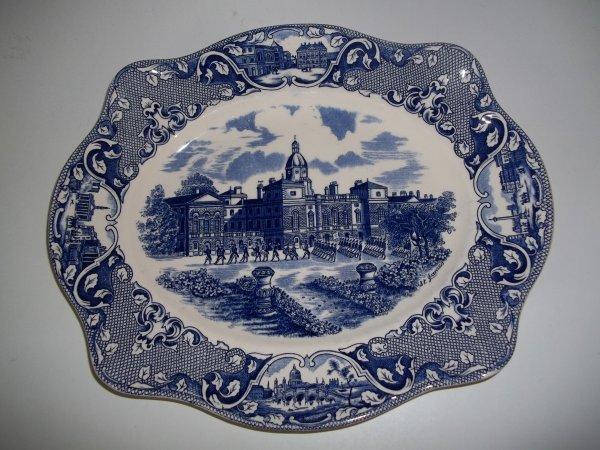 "Platte eckig mittel ""Old London"" Blau"