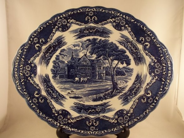 "Platte, oval ""English Country Inns"" Blau"