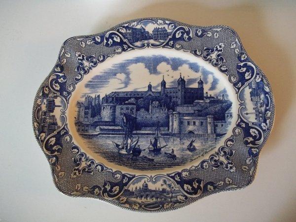 """Platte eckig groß """"Old London"""" Blau"""