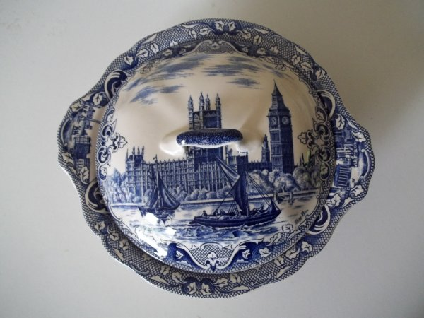 "Deckelschüssel ""Old London"" Blau RAR"