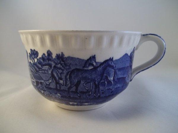 "Teetasse ""English Scenic"" Blau Pferd/Kuh"