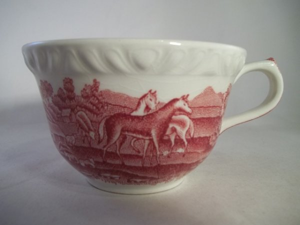 "Teetasse ""English Scenic"" Rot Pferd 1b"
