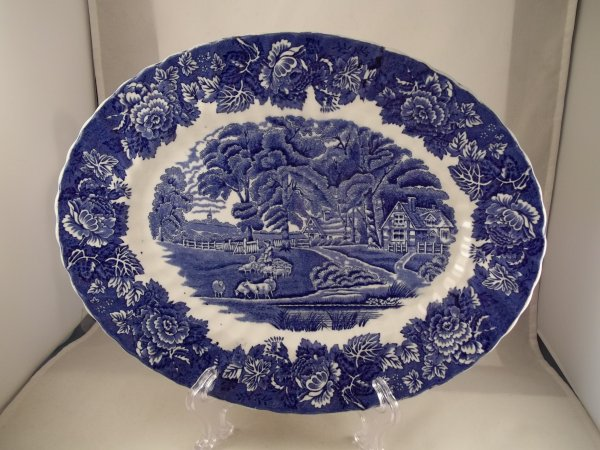 "Platte oval ""English Scenery"" Blau"