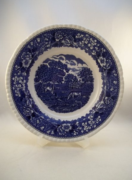 "Suppenteller, klein ""English Scenic"" Blau Kuh"